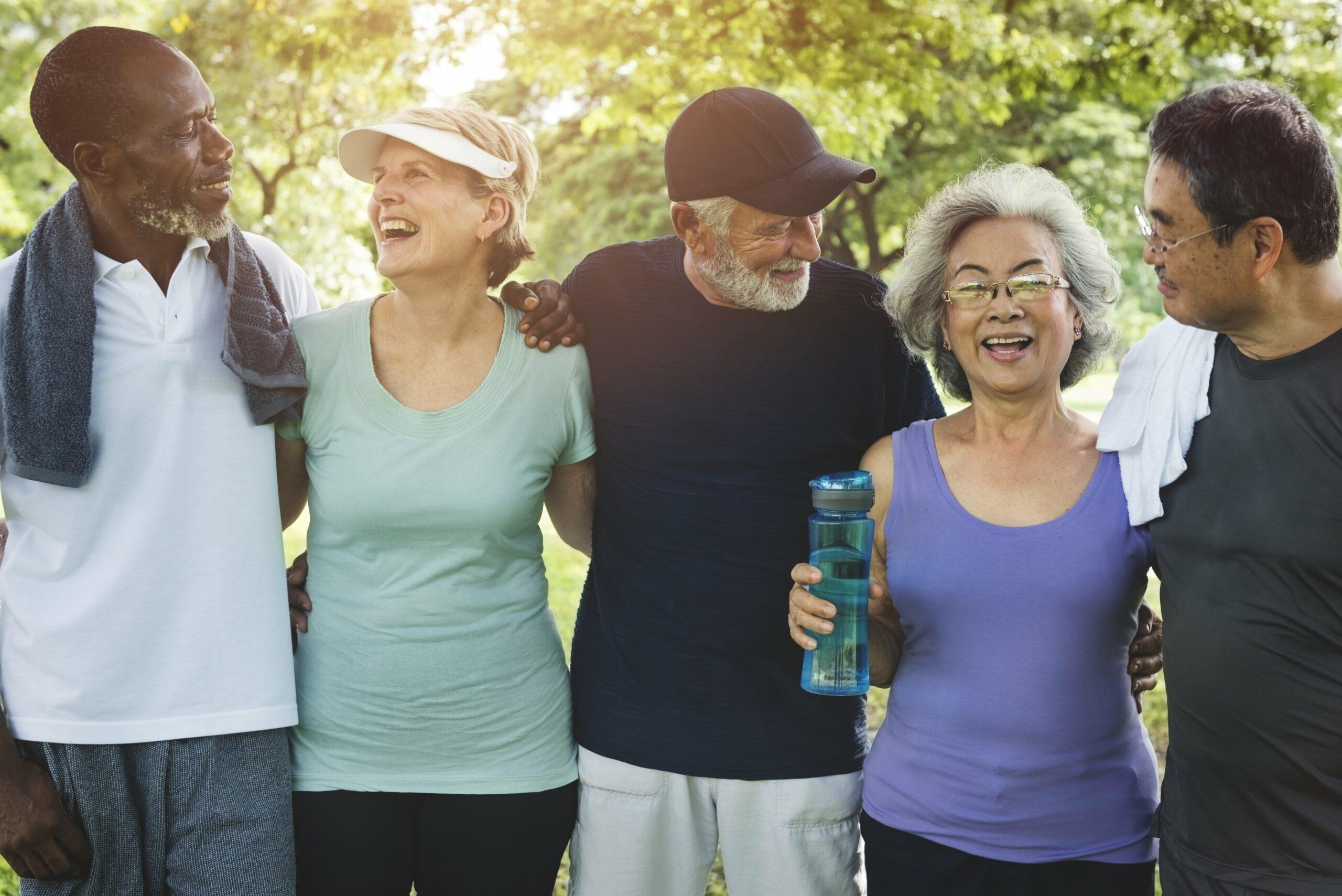 Healthy senior citizens on a walk