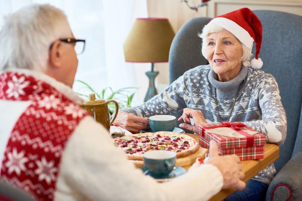 Elderly couple enjoying a holiday meal
