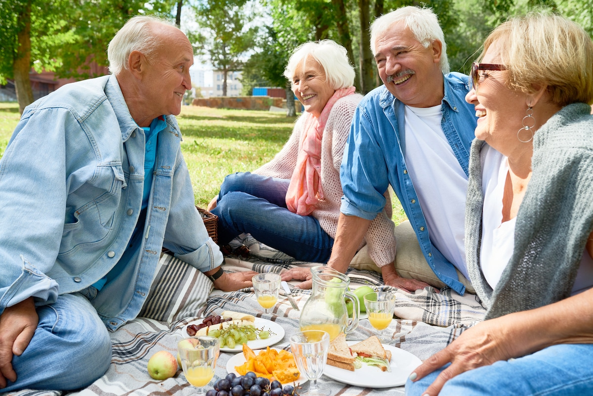 Two Older Couples Having a Picnic