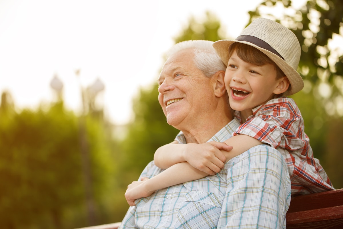 Elderly man with grandson