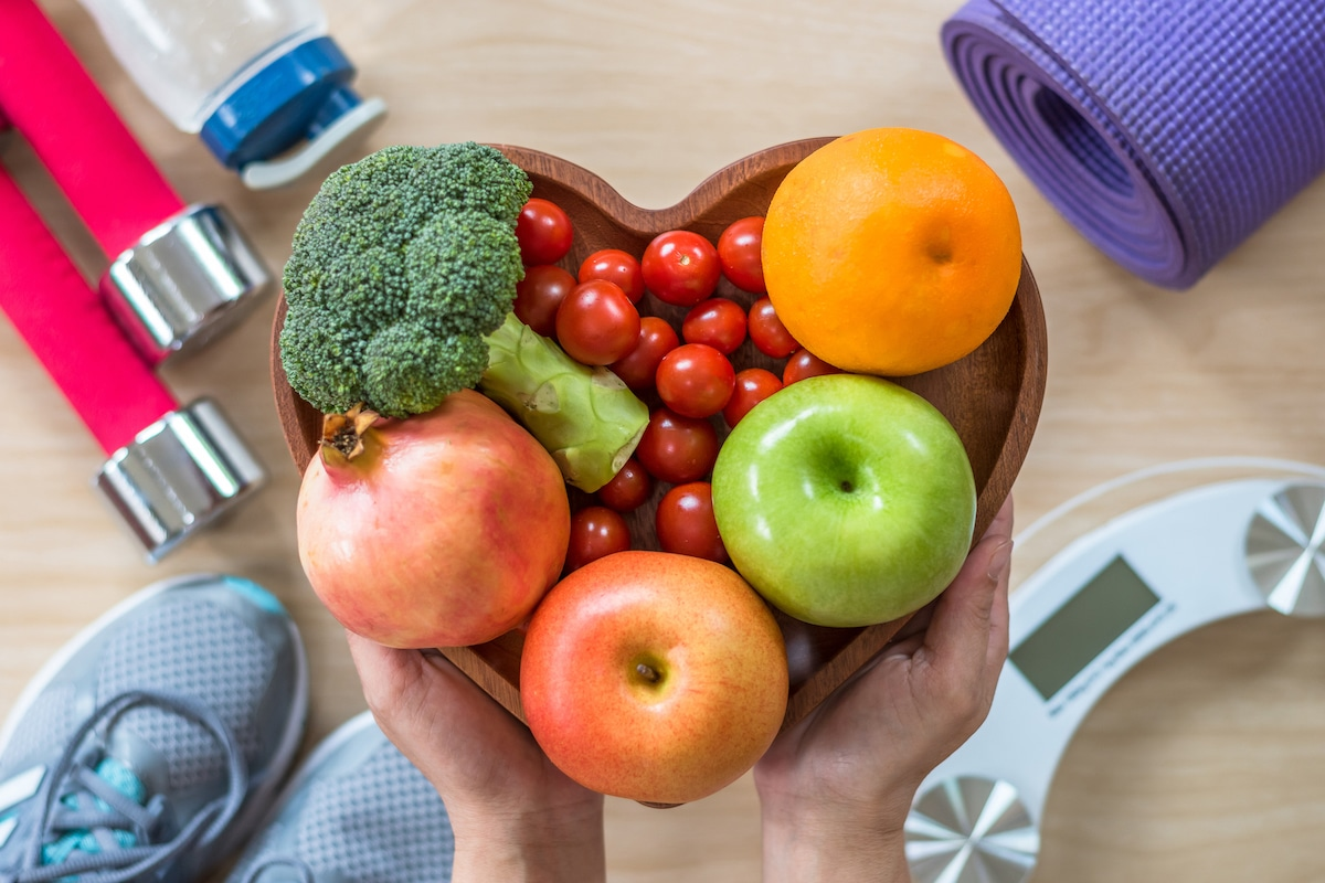 Heart healthy foods and exercise equipment