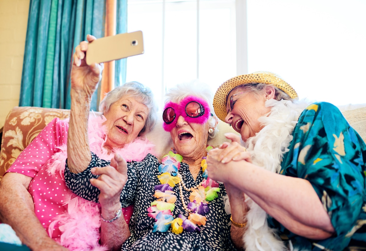 Elderly Women Taking Selfie