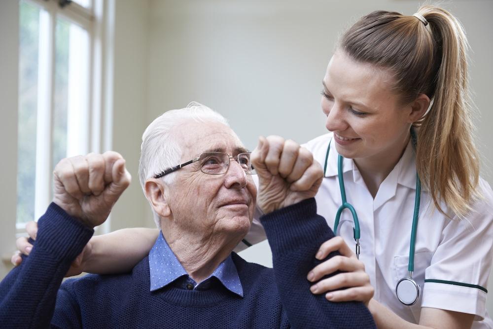 Nurse assessing stroke victim