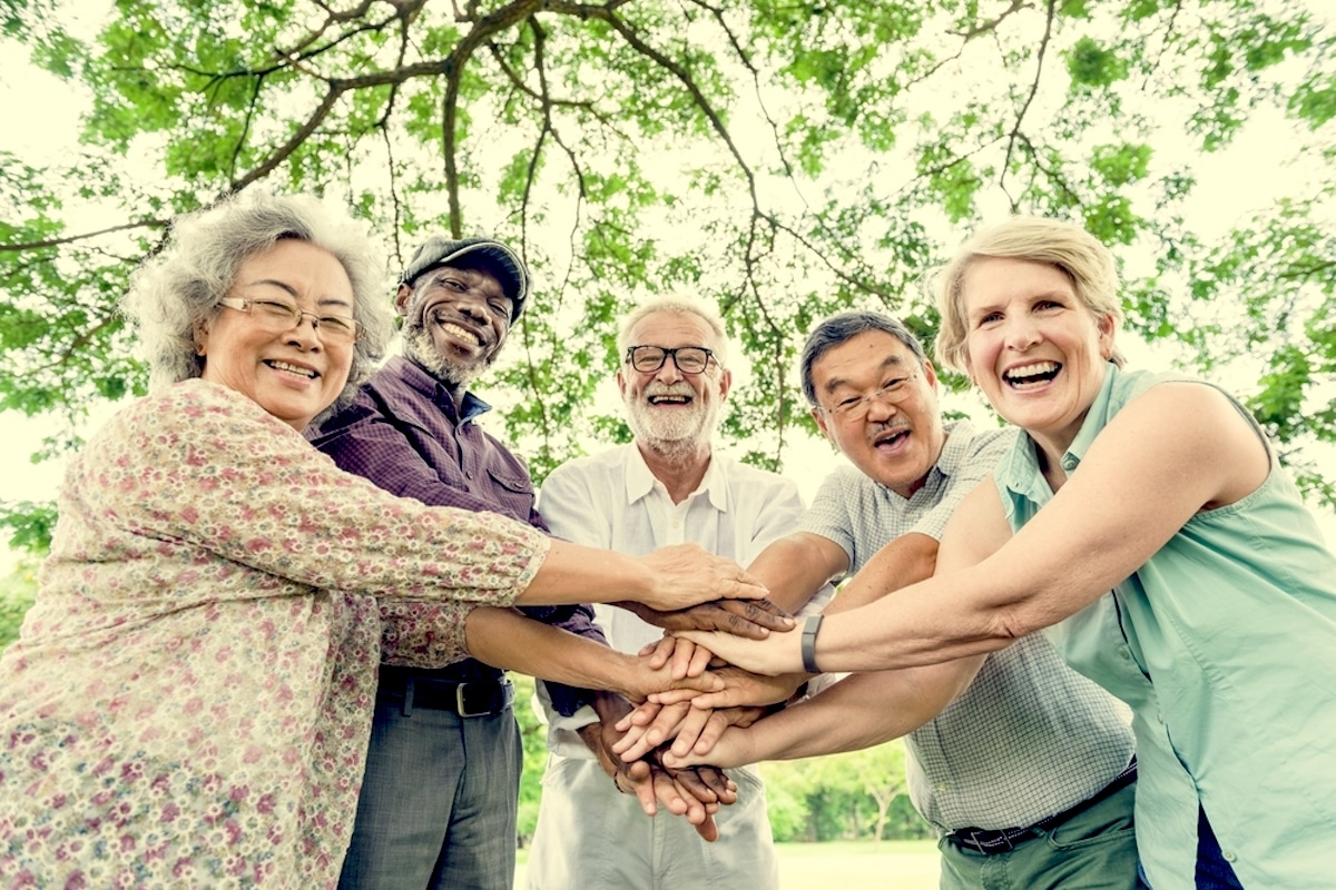 Group of older adults outdoors in the spring