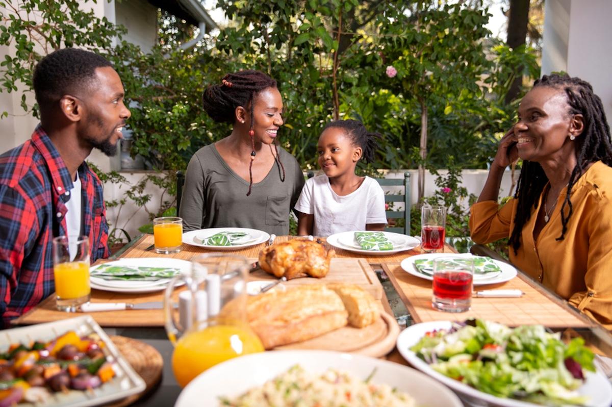 Family enjoying food outside